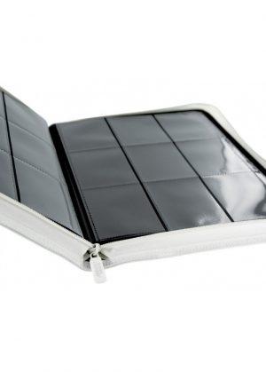 Samlemappe i høj kvalitet: Ultimate Guarde 9-pocket ZipFolio XenoSkin - Hvid - Åben mappe