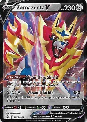Zamazenta V Tin Box. - Zamazenta V SWSH019 - Pokemon Sword & Shield Promo kort