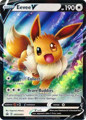 Eevee V Tin Box. - Eevee V SWSH065 - Pokemon Sword & Shield Promo kort