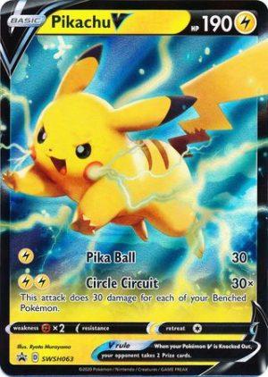 Pikachu V Tin Box. - Pikachu V SWSH063 - Pokemon Sword & Shield Promo kort