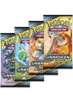 Booster Pack full artwork set (4 stk.) fra S&M Unbroken Bonds.