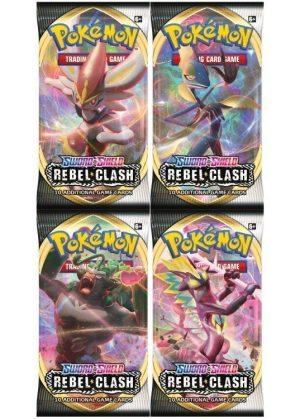 Booster Pack full artwork set (4 stk.) fra SWSH Rebel Clash.