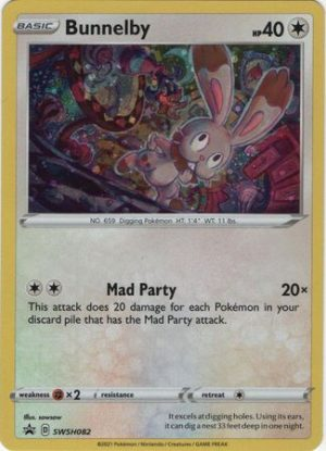 Bunnelby Mad Party Pin Collection Box. - Bunnelby SWSW082 - Pokemon Sword & Shield Promo kort