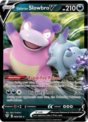 Galarian Slowbro V - V Forces Tin Box. - Galarian Slowbro V 99/189 Pokémonkort fra serien Darkness Ablaze
