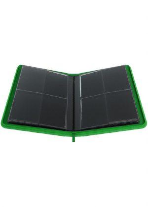 Samlemappe i høj kvalitet: Gamegenic 4-pocket Zip-Up Album  - Grøn - Gamegenic 4-pocket Zip-Up Album  - Grøn - Åben mappe