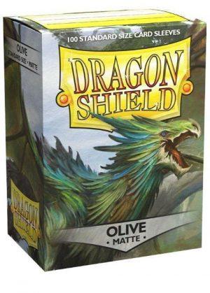 Dragon Shield matte (Oliven-grøn) Deck Protector Sleeves 100 stk. top-loading (63x88mm)
