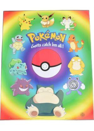 Plakat B - Pokeball og 10 forskellige pokemon
