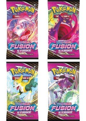 Booster Pack full artwork set (4 stk.) fra SWSH Fusion Strike.